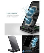 Samsung Galaxy S8 S8 Plus Qi Wireless Charger Stand 3 Coils Ultra Quick ... - $30.87