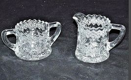 Cut Glass Floral Design Sugar and Creamer Set AA18 - 1180  Vintage Heavy image 3