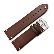 Wrist Watch Band Leather Silver Polished Vintage Strap Silver Buckle 20 ... - $19.90