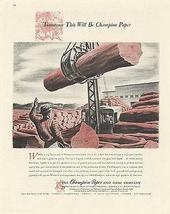 Logging Occupational Crane Champion Paper Hamilton Ohio 1947 Ad - $14.99