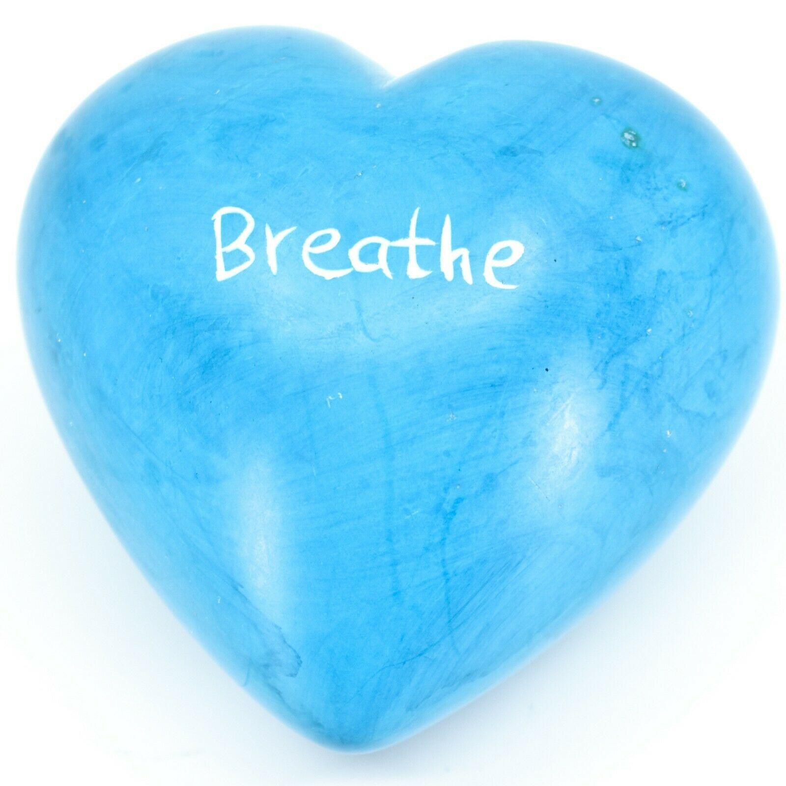 """Vaneal Group Hand Carved Soapstone 2-Sided """"Breathe"""" Sky Blue Heart Paperweight"""