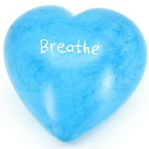 """Vaneal Group Hand Carved Soapstone 2-Sided """"Breathe"""" Sky Blue Heart Paperweight image 1"""