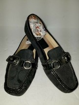 Coach Stacie Slip-On Loafers Black square toe buckle Women's size 5.5M - $34.65