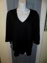 PECK & PECK ESSENTIALS Black Stretch Top V-Neck 3/4 Sleeve Side Slit Shi... - $30.00