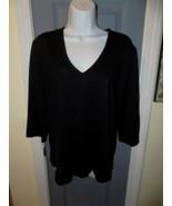 PECK & PECK ESSENTIALS Black Stretch Top V-Neck 3/4 Sleeve Side Slit Shi... - $24.30