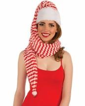 COZY WRAP RED & WHITE STRIPE SANTA ELF HAT HOLIDAY ACCESSORY SOFT FLUFFY... - $6.88