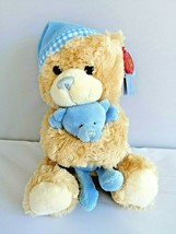 Keel Toys 25cm Cuddles Musical Bear with Blue Hat & Holding Bear From Birth Boy - $19.26