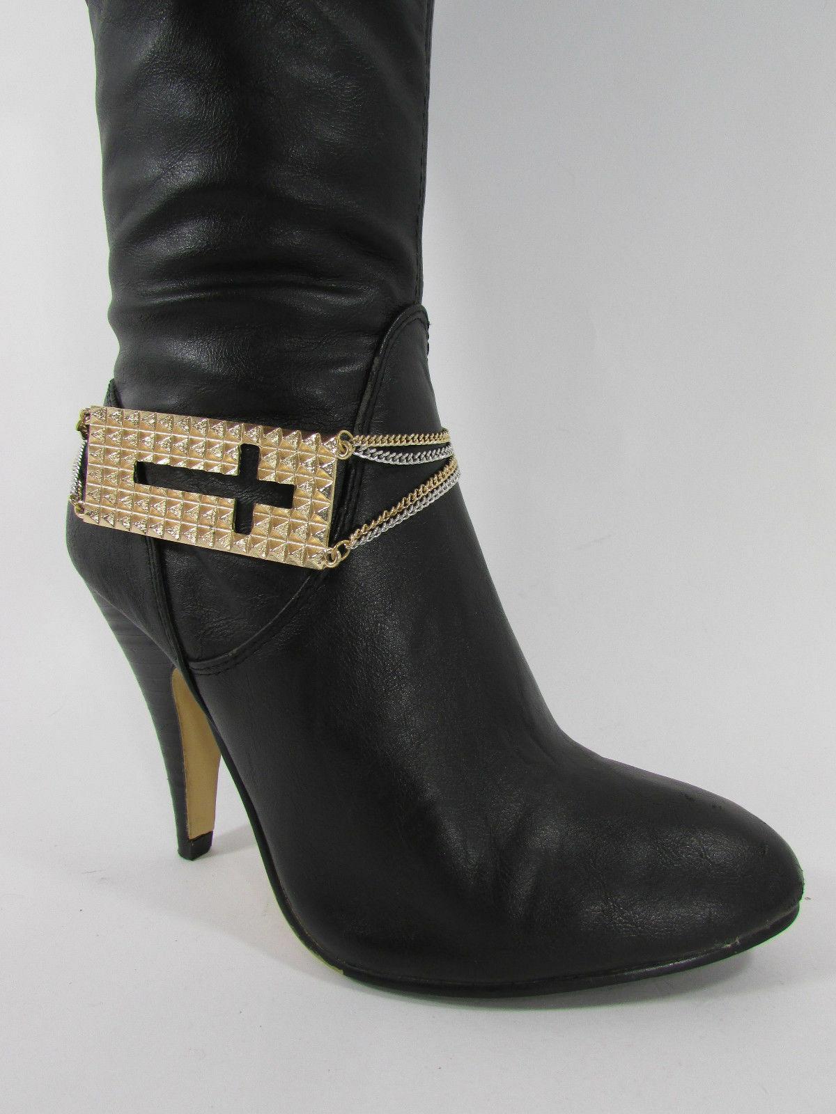 Mujer Moda Joyería Bota Brazalete Oro Placa Cruz Cadenas Zapato Bling Charm image 5