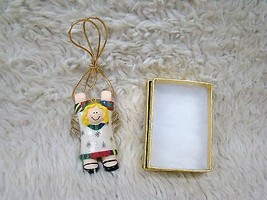 Ceramic Hanging Angel Christmas Tree Ornament with Gift Box, Holiday Dec... - $8.99