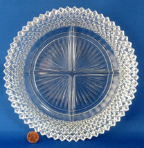 Miss America 4 Part Divided Relish Dish Clear Glass Plate Depression Hobnail - $14.00