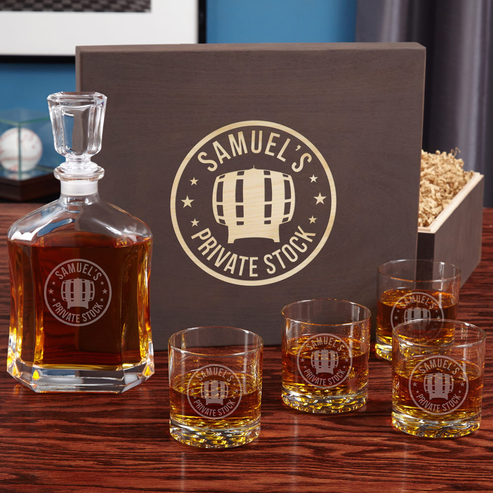 Private Stock Engraved Decanter and Whiskey Glass Set - $149.95
