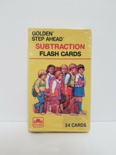 GOLDEN STEP AHEAD SUBTRACTION FLASH CARDS. 54 Count. 1984 Vintage Flash Cards
