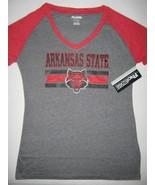 Arkansas State University T-Shirt Top New Gray Red Short Sleeve V-Neck S... - $9.85