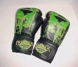 Premier Martial Arts 16 oz. Black Green Polyurethane Foam and Rubber Glo... - $44.50