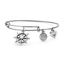 PalmBeach Jewelry Wheel of Life Charm Bangle Bracelet in Antique Silvertone - $12.49