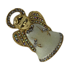 VTg Gold Tone Christmas ANGEL Aurora Botealis BROOCH Sparkly Enamel Loos... - $13.98