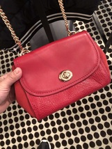 NWT COACH Mixed Material FAYE CROSSBODY in True Red F22349 MSRP $395 - $130.00