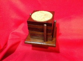 Vintage Cornwall Industries Cork-lined Wooden Coasters in Caddy  Retro 1... - $7.90