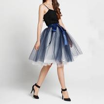 Navy White Midi Tulle Skirt 6-layered Party Tulle Skirt image 1