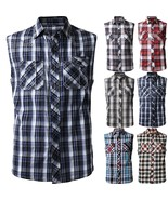 Mens Sleeveless Dress Shirts Button Down Slim Fit Casual Plaid Checker F... - $14.24+