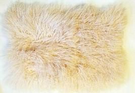 William Sonoma MONGOLIAN LAMB WOOL 14X22 BLUSH Lumbar Pillow Cover GORGE... - $59.00