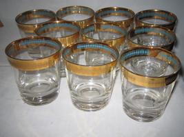 Vintage Gold Trim & Turquoise Blue Inside Pattern 10 pc LOOK - $43.99