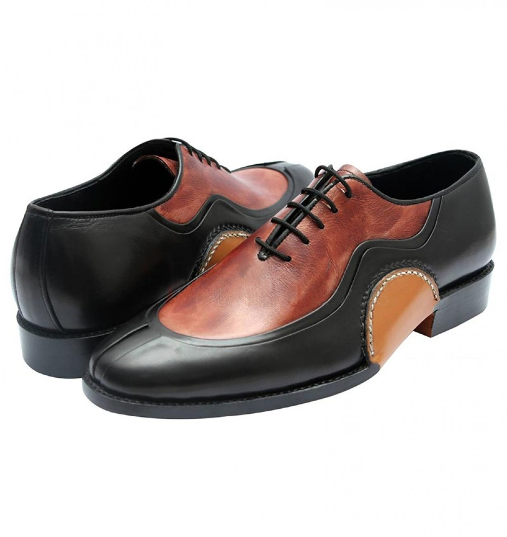 Icelandic Balmoral Hand Made Men's Split Toe Double Color Leather Shoes