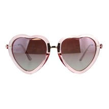 Womens Heart Shaped Sunglasses Translucent Color Frame Lite Mirrored - $10.95