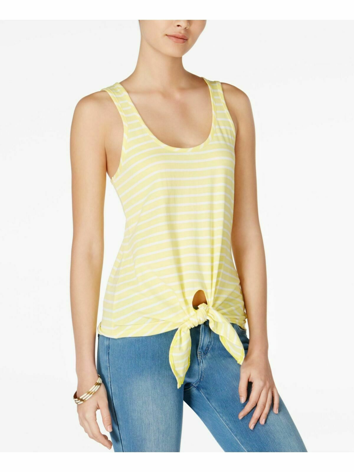 Primary image for Maison Jules Women's Acid Yellow Striped Cotton Tie-Hem Tank Top Size Large
