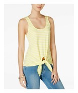 Maison Jules Women's Acid Yellow Striped Cotton Tie-Hem Tank Top Size Large  - $14.26