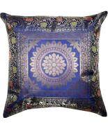 "Blue Mandala 17"" Cushion Pillow Cover Handmade Toss Brocade Indian Throw... - $8.90"