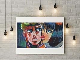 Printable Watercolor Portrait - Woman Licking Man, Anime Image Download,... - $4.20