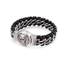 Fongten Antique Teen Wolf Head Charm Bracelet Braid Stainless Steel with... - $27.52