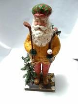 Golfing Santa Old Bearded Man w/ Red Plaid Hat Sport Golf Bag Christmas ... - $9.90