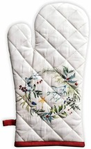 Oven Mitt Fabric Winter Holly Oven Potholder Colorful Quilted Cotton Mitten - $29.00