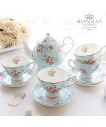 Light Blue Flower Bone China Ceramic Teaset Coffee Tea Cup Set Wedding G... - $247.40