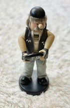 """Biker Nutcracker 13"""" Wood By Zims Inc RARE 1999 Motorcycle Theme Leather - $64.95"""