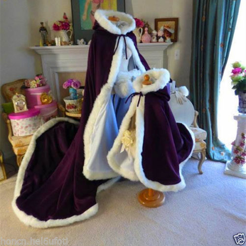 Bridal Winter Wedding Cloak Cape Hooded with Fur Trim Long Flower Girl Cloak for sale  USA