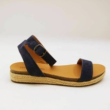 Lucky Brand Womens Garston Espadrilles Wedge Sandals Blue Leather 8.5 M New - $27.71
