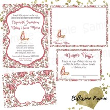Cradle Floral Baby Shower Invitation Set of 12 Invitations thank you card - £15.87 GBP