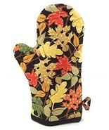 Autumn Oven Mitt - Colorful Fall Leaves on Black Cotton Pot Holder, Insu... - $30.17