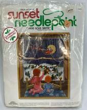 Sunset There Goes Santa Kids Waiting Christmas Eve Window Needlepoint Ki... - $42.46