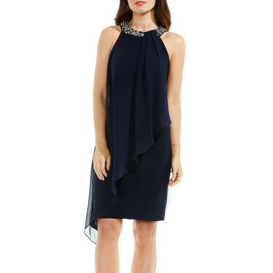 Vince Camuto Women's Sleeveless Drape Dress w/ Embellished Neckline, Navy, 12