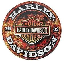 Harley-Davidson Embossed Stone Rust Bar & Shield Tin Sign, Round 14 inch 2011171 - $33.97