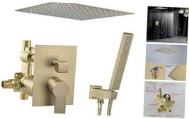 "Ceiling Mount Shower System, 12-Inch 12"" Steel showerhead Brushed Gold - $390.33"