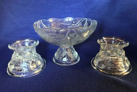 Teleflora Pears compote & pair of candle holders, embossed, signed vinta... - $23.76