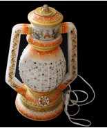 INDIAN HAND MADE TRADITIONALWHITE MARBLE DECORATIVE LAMP BEAUTIFUL CUT O... - $164.47