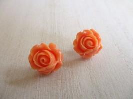 New! Handmade Salmon Pink Resin Flower Silver Tone Stud Post Earrings Fr... - $6.18