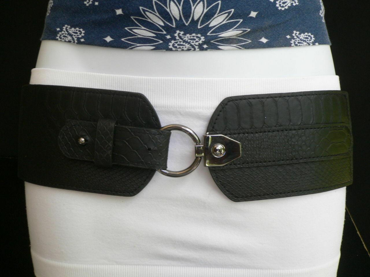 Cintura Donna Fashion Hip Vita Elastico Nero Largo Finta pelle Serpente Timbro image 6