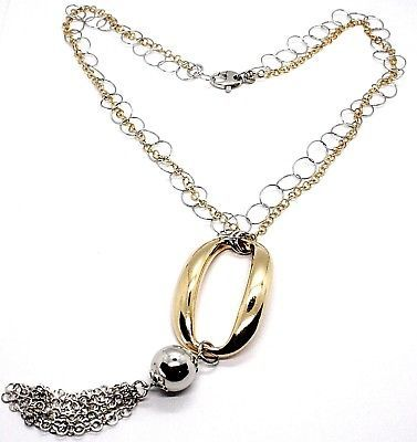 925 Silver Necklace, Double Chain Rolo, white and yellow, oval Fringes, Pendants